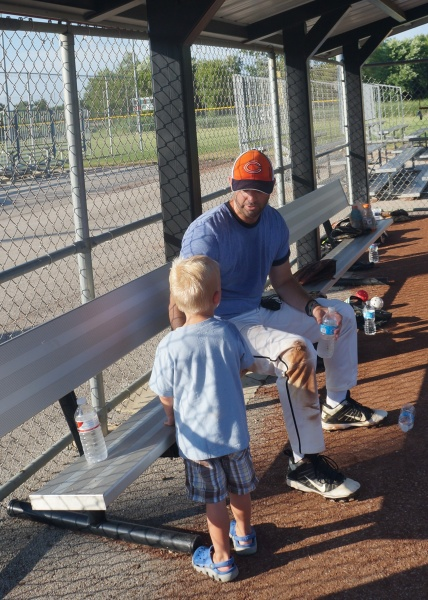 Saying Hi to Daddy in the Dugout
